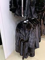 Норковая шуба длинная коричневая классическая модель