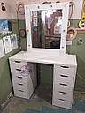 Гримерный стол с большим количеством ящиков, макияжный столик с подсветкой, фото 3