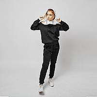 Трикотажный спортивный костюм с пайетками черный
