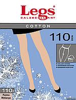 Колготки хлопковые(4р-р), чёрный, Cotton 110 ден, Legs