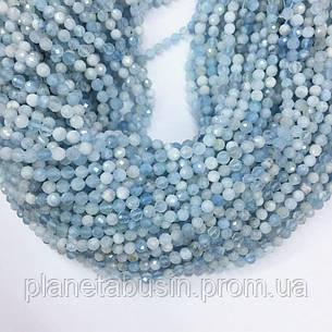 2 мм Аквамарин, Натуральный камень, Форма: Граненый Шар, Длина: 40 см, фото 2