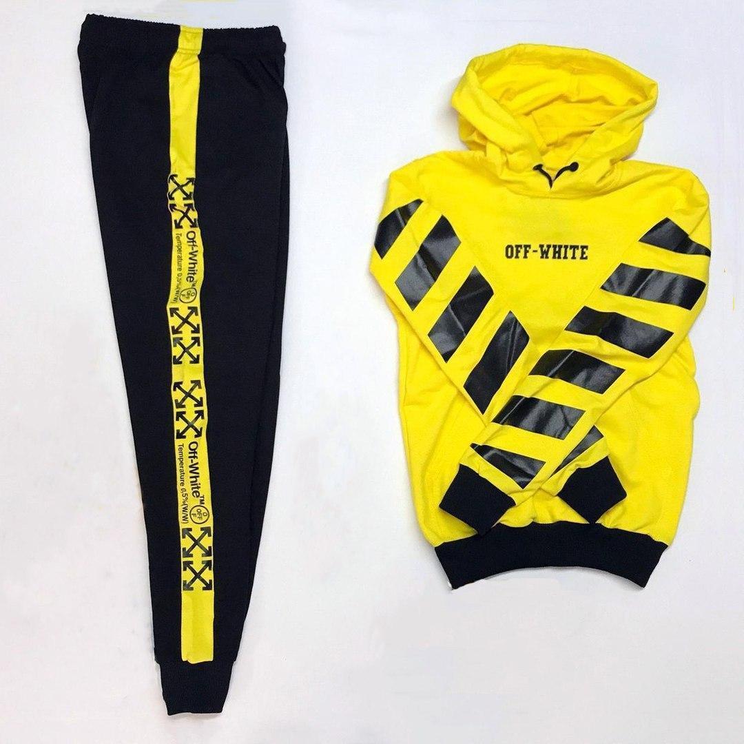 Спортивный костюм мужской черный с желтым,  модель Off White