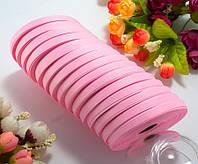 (15 рулонов) РЕПСОВАЯ лента ширина 0,6см (25 ярдов) Цена за блок, цвет - Розовый