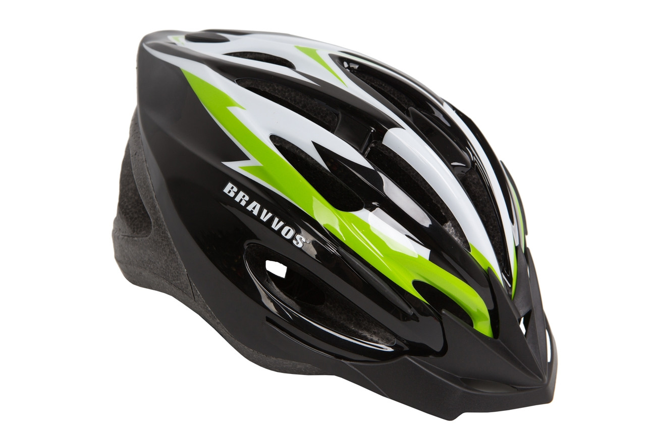 Шлем велосипедный Bravvos HEL126черно-бело-салатовый (L, 58-61 см)
