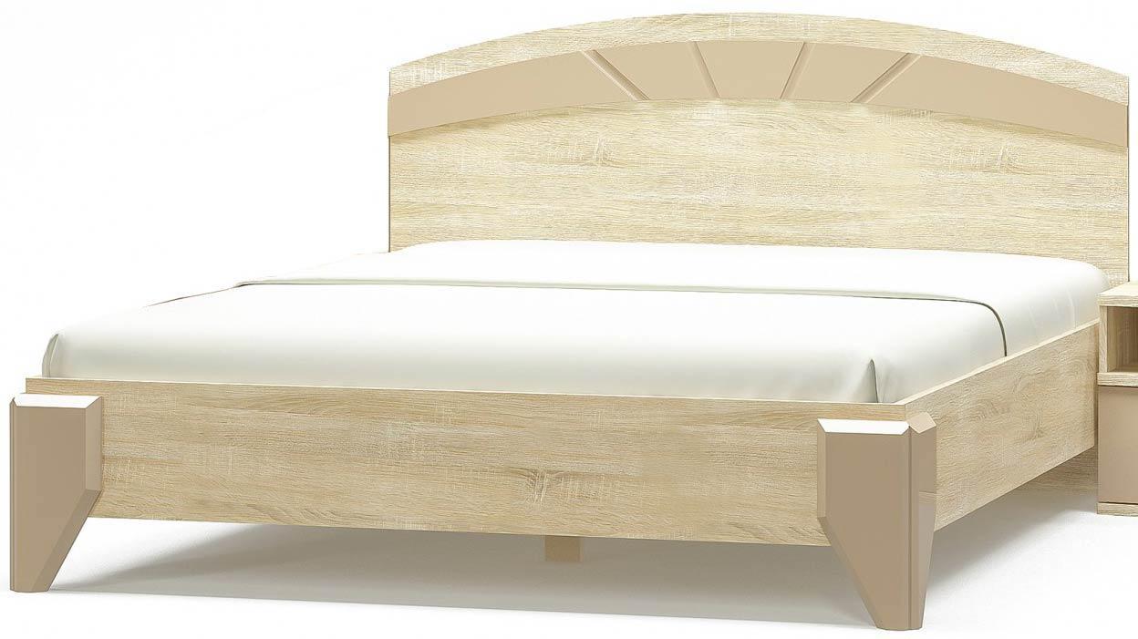 Аляска Кровать 160 + ортопедический вклад МЕБЕЛЬ СЕРВИС (207.2х170.4х101.2 см) Дуб самоа + Капучино