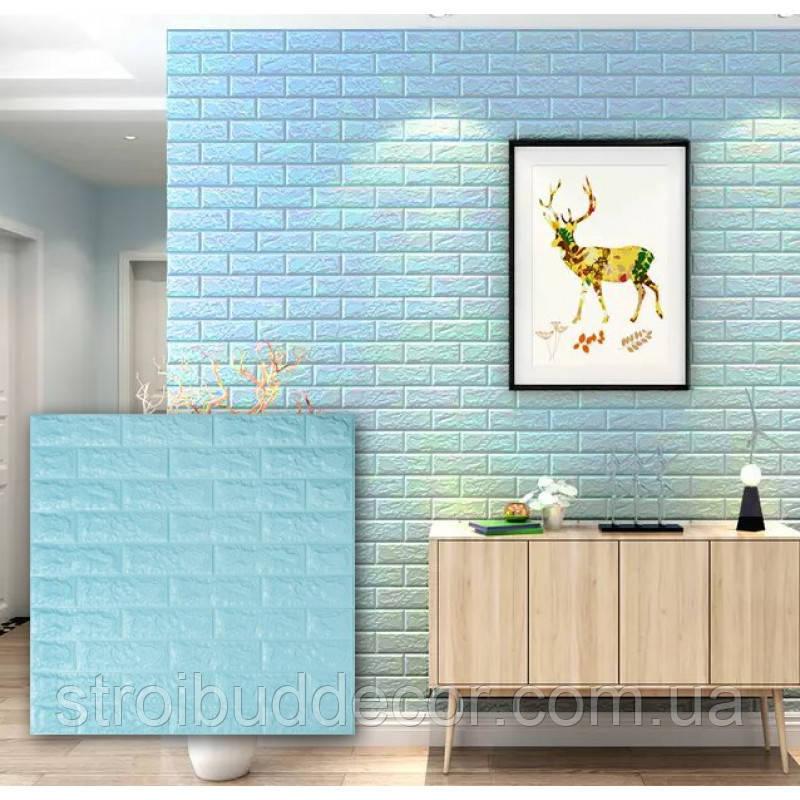 Самоклеющаяся декоративная 3D панель под бирюзовый кирпич  700*770*7мм