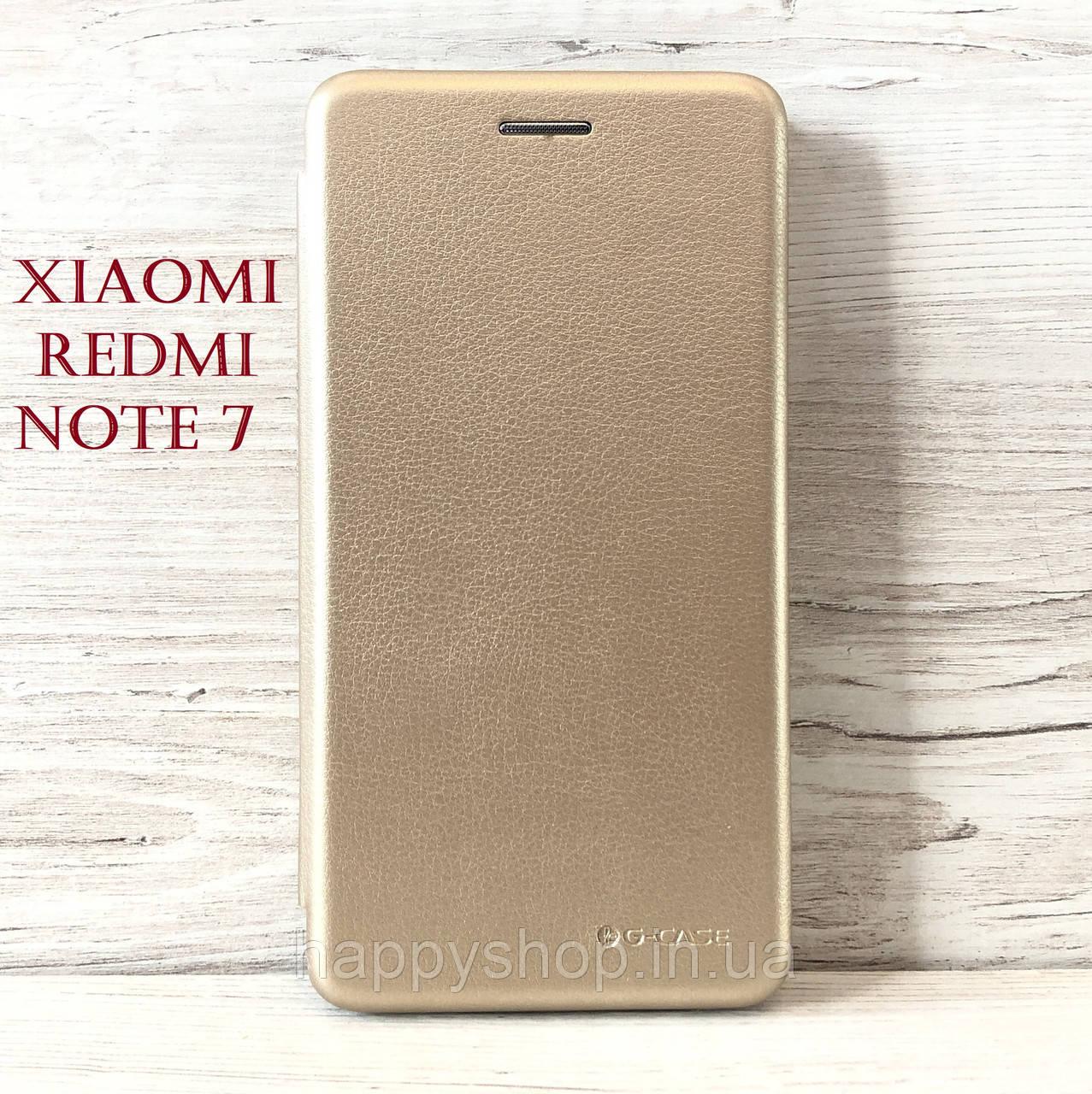 Чехол-книжка G-Case для Xiaomi Redmi Note 7 (Золотой)