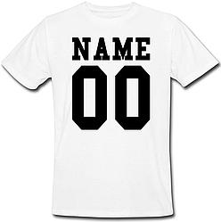Мужская именная футболка (принт спереди) [Цифры и имена/фамилии можно менять] (50-100% предоплата)