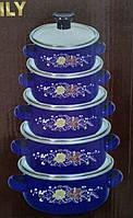 Набор эмалированных кастрюль с стеклянными крышками из 5 шт Swiss Family SF-673EDG Синий