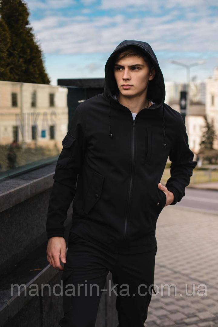 """Костюм мужской Softshell """"Intruder"""" черный (куртка и штаны) + Баф Intruder в подарок"""
