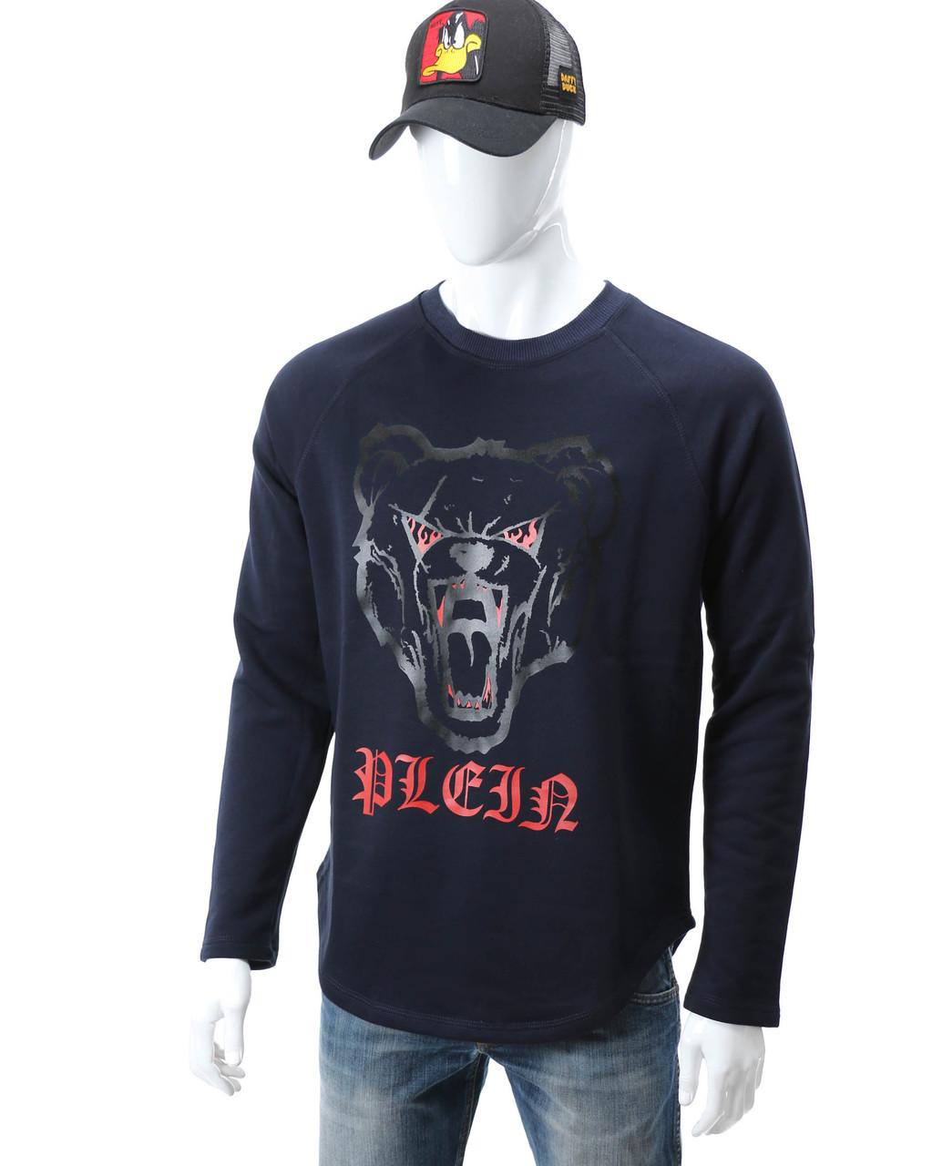 Свитшот т синий PHILIPP PLEIN с принтом Медведь злой №2 Р-2 DBLU M(Р) 20-544-201