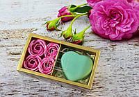 Натуральное сувенирное мыло ручной работы!  4 Шт.Розы + Сердечко Мыло Лепесток Розы