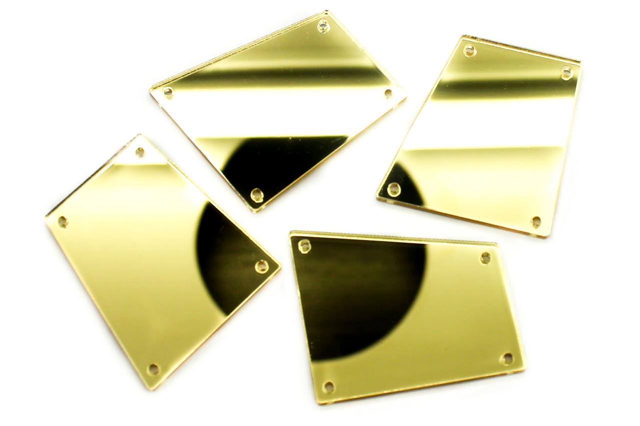 Зеркальные стразы, Размер:30x34 мм, Цвет Золото. Цена за 10шт.