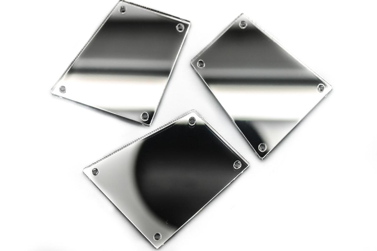 Зеркальные стразы, Размер:30x34 мм, Цвет Серебро, Цена за 10шт.