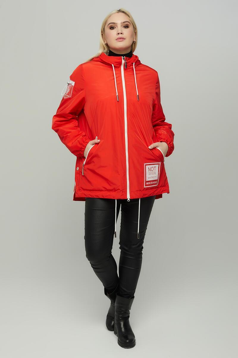 Легкая красная короткая женская куртка больших размеров 50-64