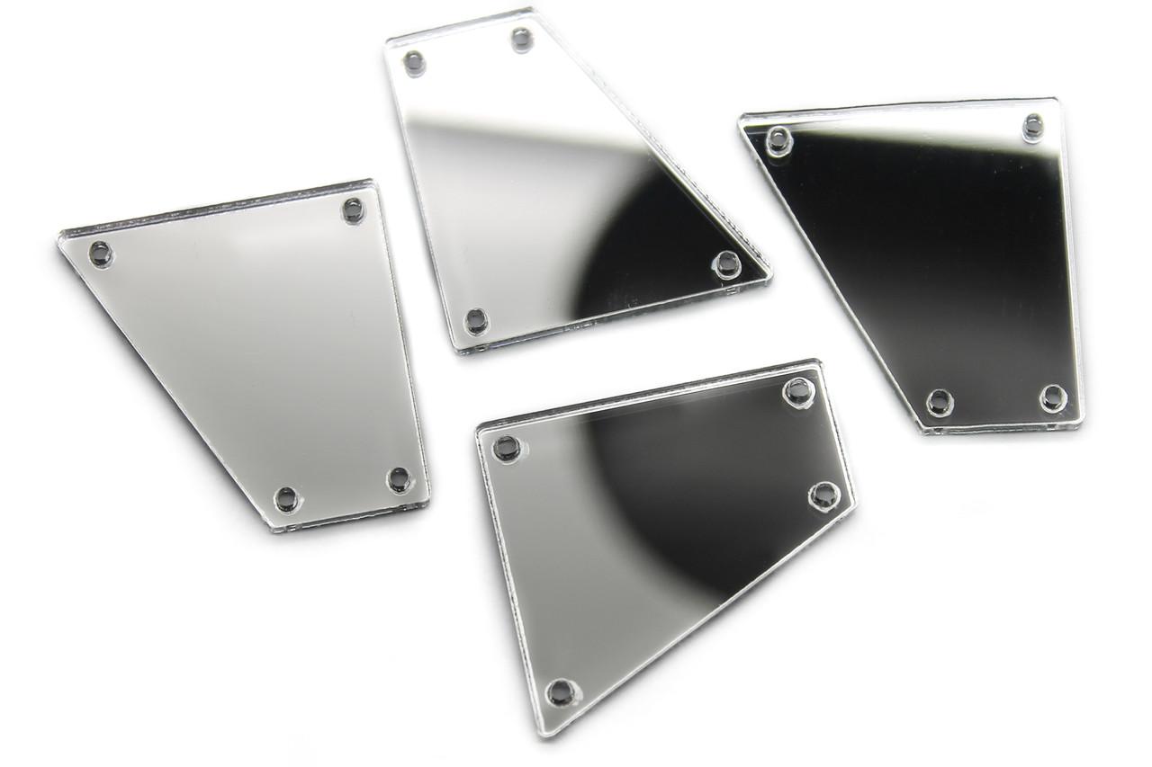Зеркальные стразы, Размер:27x28 мм, Цвет Серебро, Цена за 10шт.