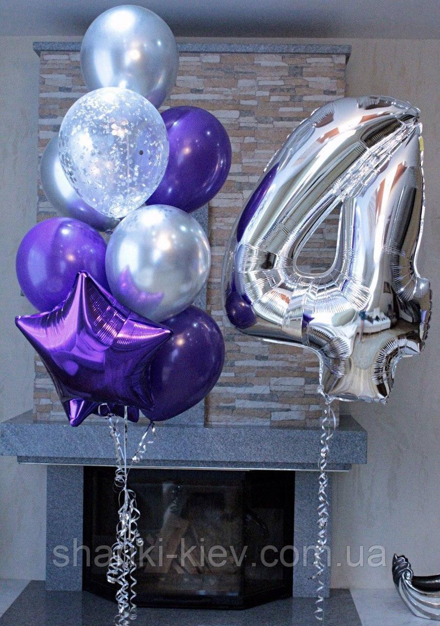 Праздничный набор на День Рождения с цифрой Серебро