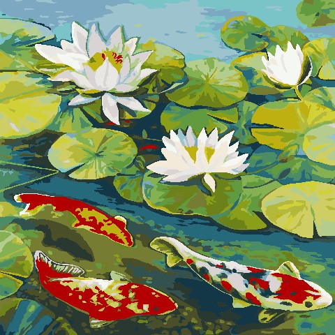 Рисование по номерам Рыбки в пруду ArtStory AS0807 40 х 40 см (без коробки)
