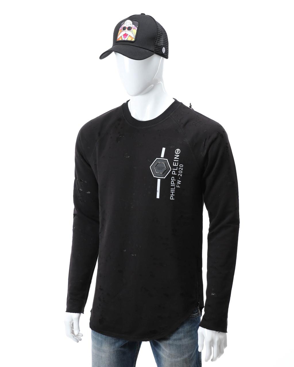 Свитшот черный PHILIPP PLEIN патч #2 Р-2 BLK S(Р) 20-512-212-004
