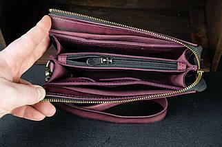 Гаманець клатч Тревел з ремінцем Шкіра Італійський краст колір Бордо, фото 3