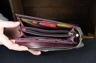 Гаманець клатч Тревел з ремінцем Шкіра Італійський краст колір Бордо, фото 2