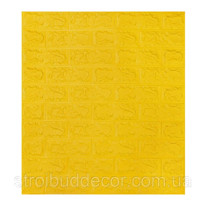Самоклеющаяся декоративная 3D панель под желтый кирпич  700*770*7мм