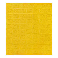 Самоклеющаяся декоративная 3D панель под желтый кирпич  700*770*7мм, фото 1