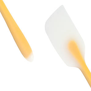 Кулинарная силиконовая лопатка для кухни Lesko C063 Yellow шпатель для крема блинов, фото 2