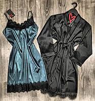 Женский набор домашней одежды халат и пеньюар.