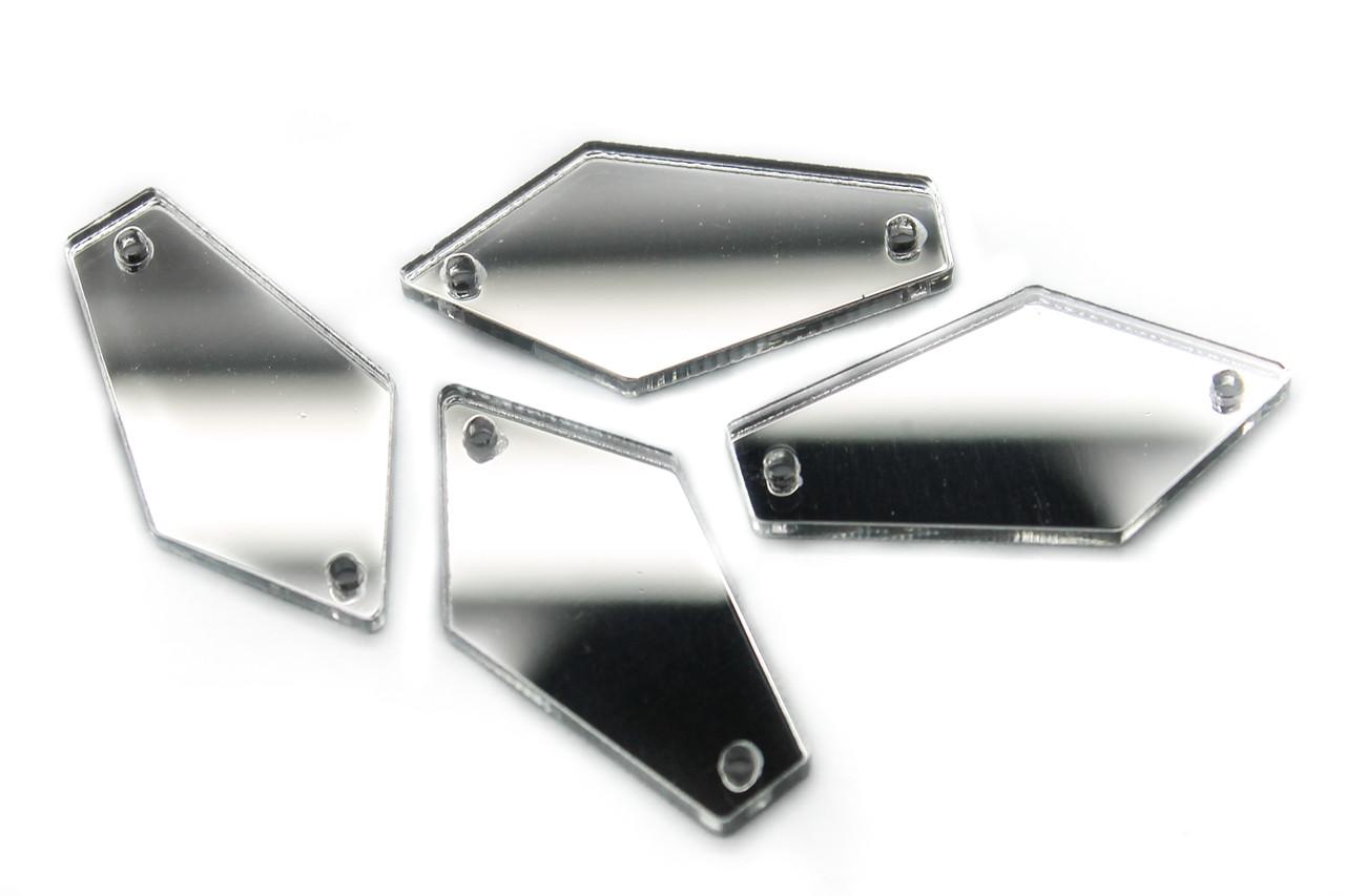 Дзеркальні стрази, Розмір:15x28 мм, Колір Срібло, Ціна за 10шт.
