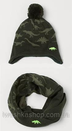 Теплый комплект хаки с динозаврами, шапка и снуд для мальчика 1,5 - 4 лет, р. 92/104, H&M