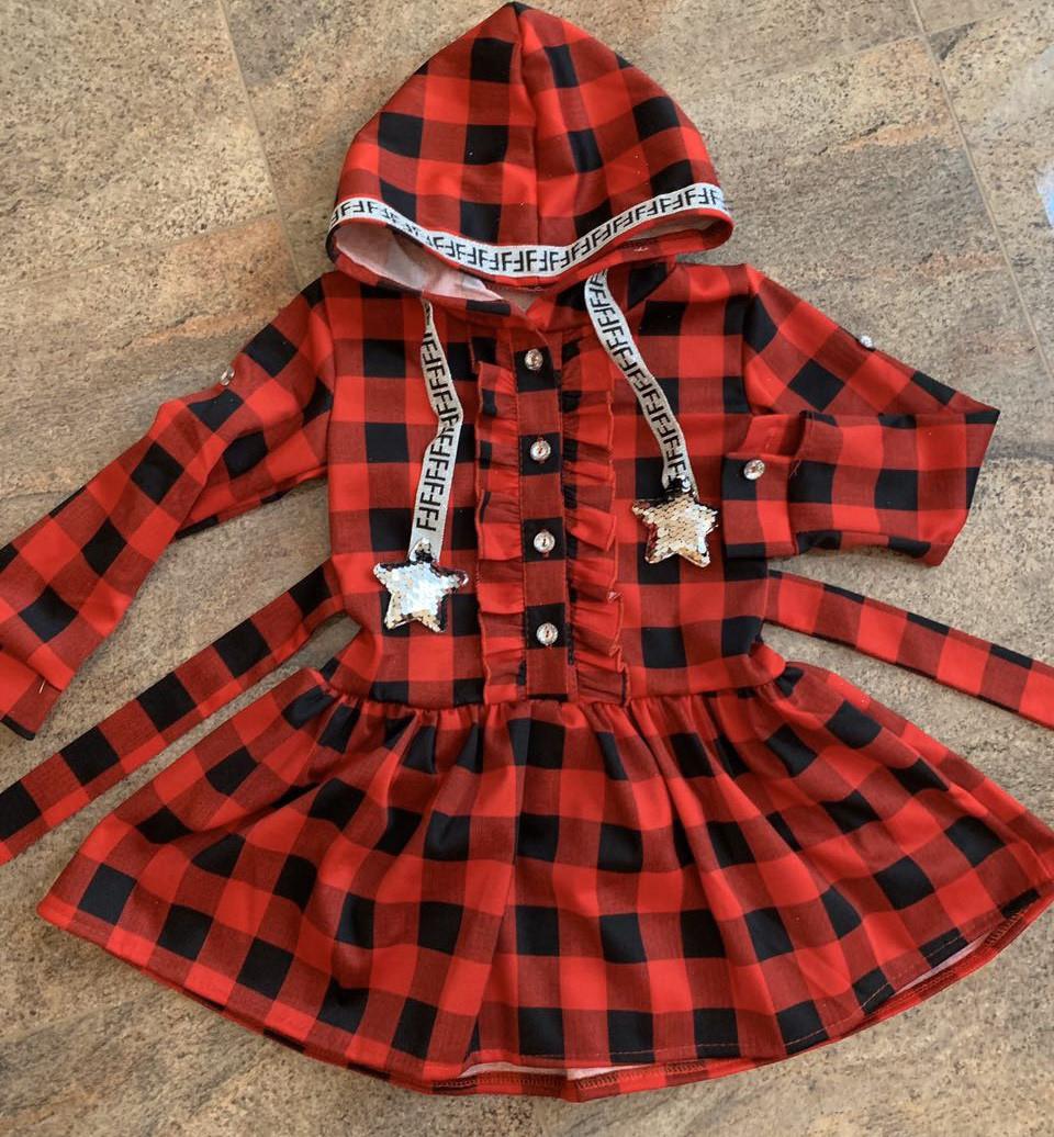Платье-рубашка с капюшоном для девочек, 104-122 рр. Артикул: 5250