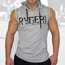 Спортивный мужской жилет с капюшоном