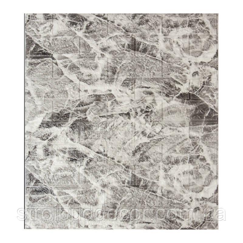 Самоклеющаяся декоративная 3D панель под кирпич серый  мрамор 700*770*7мм