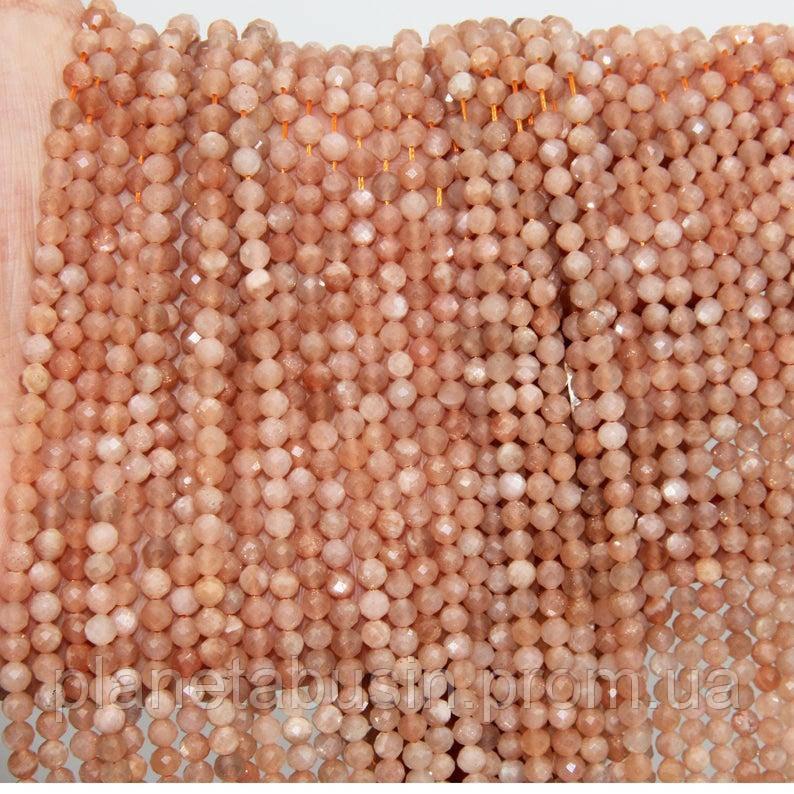 2.5 мм Солнечный Камень, Натуральный камень, Форма: Граненый Шар, Длина: 40 см