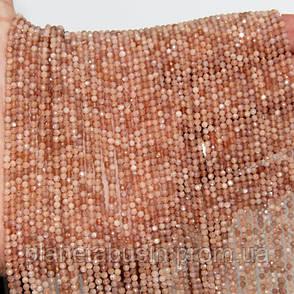 2.5 мм Солнечный Камень, Натуральный камень, Форма: Граненый Шар, Длина: 40 см, фото 2