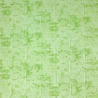 Самоклеющаяся декоративная 3D панель под кирпич салатовый мрамор  700*770*7мм