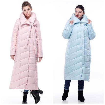 Зимове пальто-кокон стьобана з якісної плащівки, меланж ( р-р 48,50,54) код 3098М, фото 2