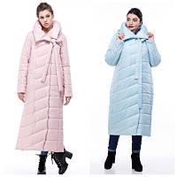 Зимнее пальто-кокон стеганое из качественной плащевки, меланж ( р-р.46,48,50,54) код 3098М