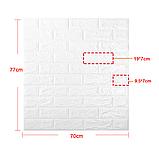 Самоклеющаяся декоративная 3D панель под кирпич серебро  700*770*7мм, фото 3