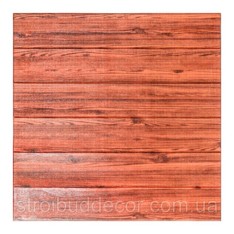 Самоклеющаяся декоративная 3D панель под красное дерево  700*770*6мм