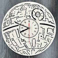 Настенные часы ручной работы из дерева «Звезда смерти»