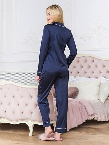 Пижама рубашка и штаны женская синяя, фото 2