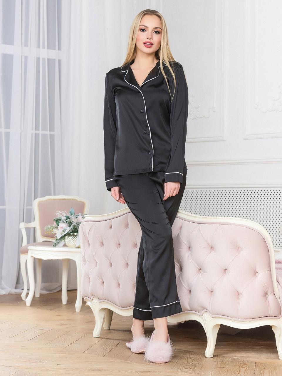 Піжама жіноча шовк з брюками чорна