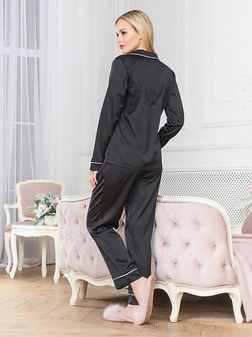 Піжама жіноча шовк з брюками чорна, фото 2