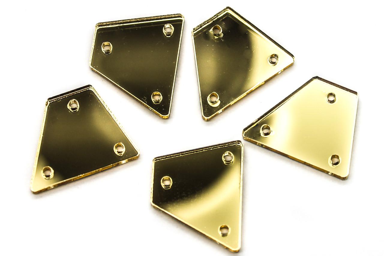 Дзеркала пришивні Розмір:15x20 мм, Колір Золото. Ціна за 10шт.
