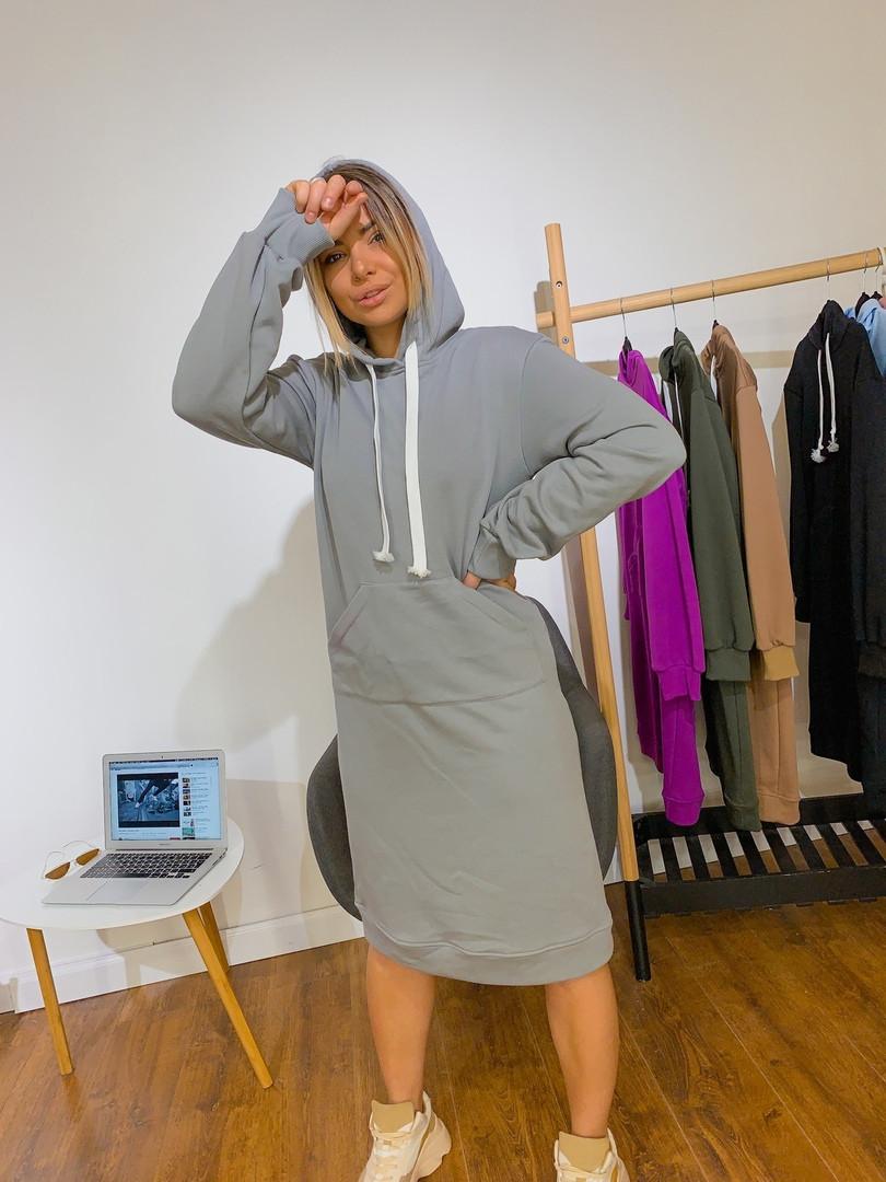 Женское стильное платье- худи с капюшоном,серого цвета