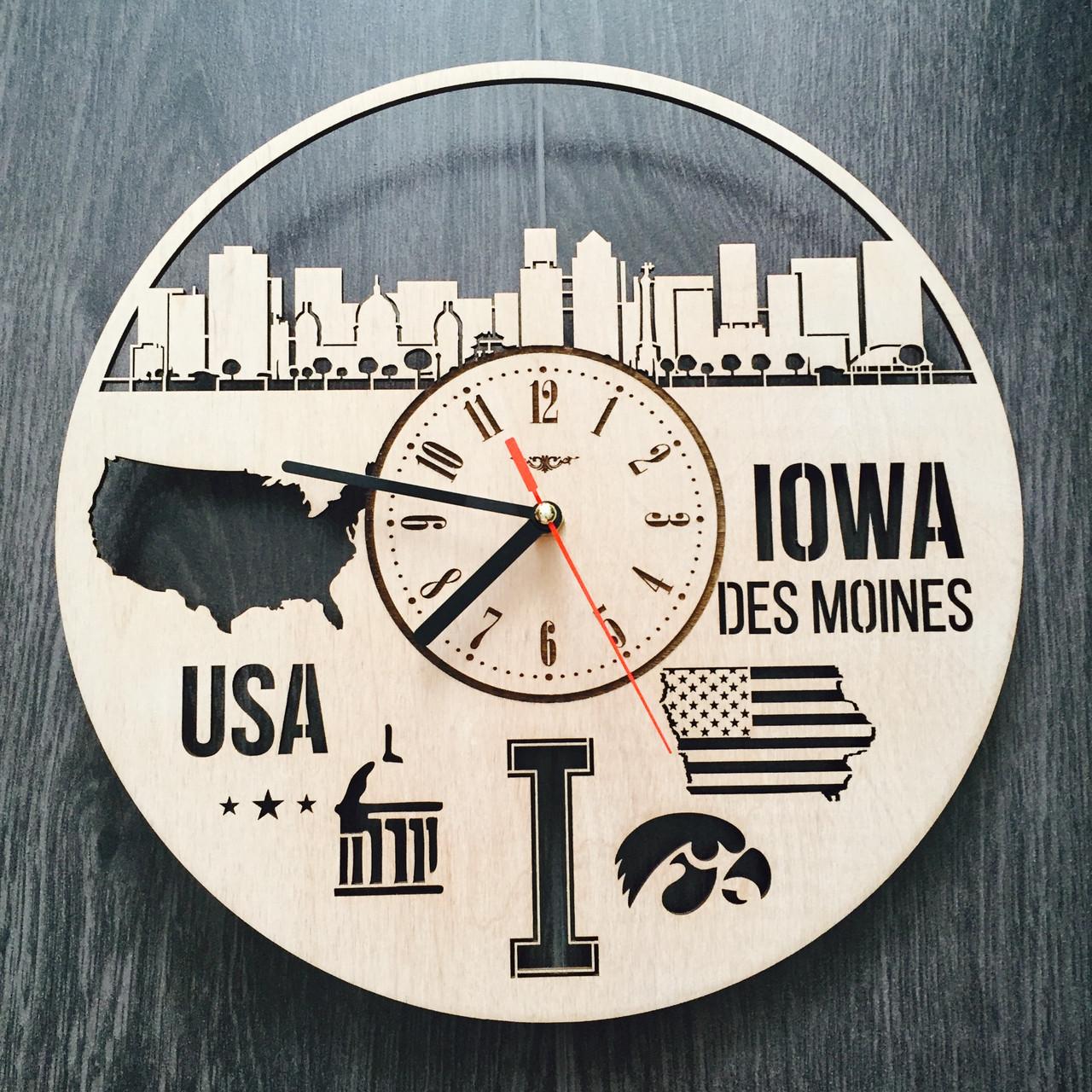 Интерьерные часы на стену «Де-Мойн, Айова»