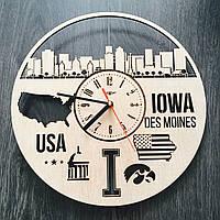 Интерьерные часы на стену «Де-Мойн, Айова», фото 1