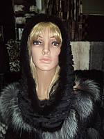 """Капор -снуд из скандинавской норки модель """" Мадонна"""" ( черный жемчуг)"""